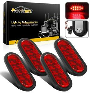 4pcs 6 Oval Led Stop Turn Tail Red Lights W Grommet Plug For Truck Trailer