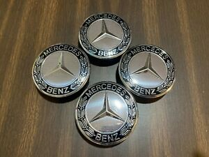4 Pcs Mercedes Benz Black Wheel Center Hub Caps Emblem 75mm