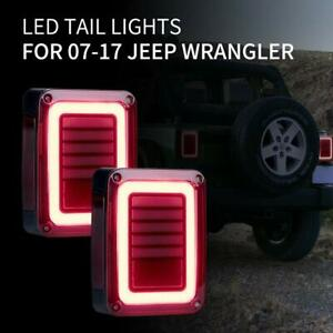 For 07 17 Jeep Wrangler Jk Led Rear Tail Lights Smoke Reverse Brake Turn Signal