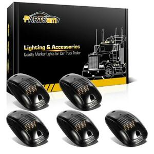 5x Smoke 264146bk Roof Cab Clearance Amber 16led Lights For Dodge Ram 3500 4500