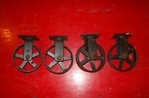 Set Of 4 Cast Iron Cart Wheels Casters Metal Industrial Steampunk 4 Inch