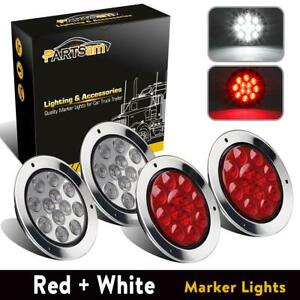 4x Red White 12 Led 4 Round Reverse Brake Stop Tail Lights W Stainless Rings