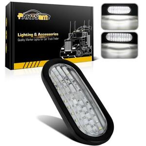 30 Led 6 Oval White Sealed Stop Turn Tail Backup Light W rubber Mount