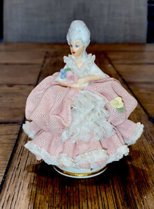 Antique Dresden Capodimonte Germany Porcelain Lace Figurine Very Good Condition