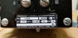 Powerstat Variable Autotransformer Type 116cu 50 60hz 1ph 120v In 0 140v Out 10a