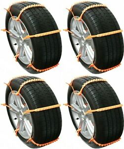 Tire Zips Grip Cleated Traction Emergency Chain Snow Ice Mud Car Van Suv Set 24