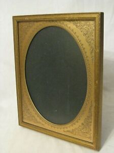 Vintage Picture Frame Antique Style Photo Photograph Stand Wood Embossed Metal