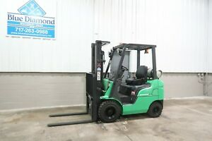 2012 Mitsubishi 3 500 Pneumatic Tire Forklift 3 Stage S s Dual Fuel Lpg