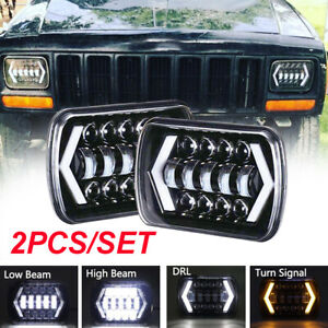 Pair 5x7 7x6 Led Headlight For Jeep Wrangler Yj 1986 1995 Cherokee Xj 1984 2001