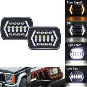 Pair 240w 7 x6 Led Headlight Hi lo Beam Halo Drl Bulb For Jeep Xj H6014 h6054