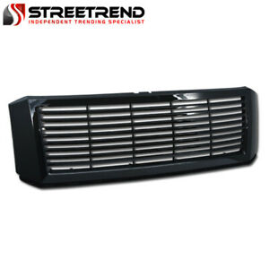 For 2007 2014 Ford Expedition Glossy Black Horizontal Front Hood Bumper Grille