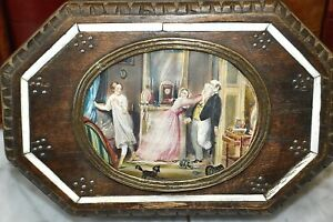 Antique Victorian Wood Trinket Jewelry Box With Whimsical Portrait Scene In