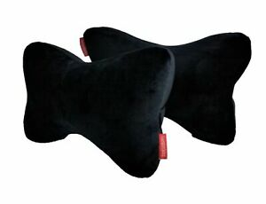 2pk Memory Foam Car Seat Head Rest Support Pillow Neck Shoulder Pain Zipper Blk