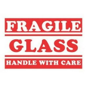 3 X 5 Fragile Glass Handle With Care Labels 500 Per Roll