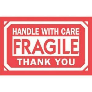 3 X 5 Fragile Handle With Care Thank You Labels 500 Per Roll