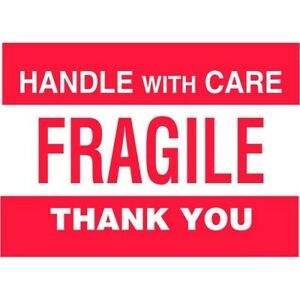 4 X 6 Handle With Care Fragile Thank You Labels 500 Per Roll