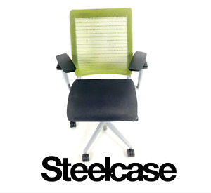 Steelcase Think Chair Green Fabric Mesh Platinum Frame Ergonomic Task Chair