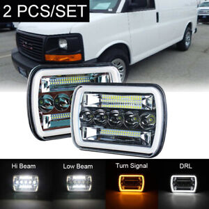 Pair 7x6 Led Headlight Hi lo Beam Halo Drl For Express Savana 1500 2500 3500