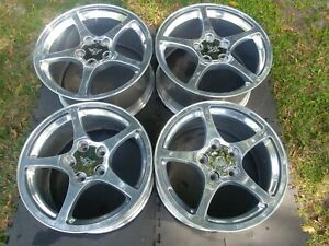 Chevy Corvette Polished Factory Wheels 4 2000 2004 Matched Set Nice Used