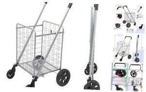 Grocery Shopping Cart With Heavy Duty Swivel Wheels Folds Flat With Wide Cushio