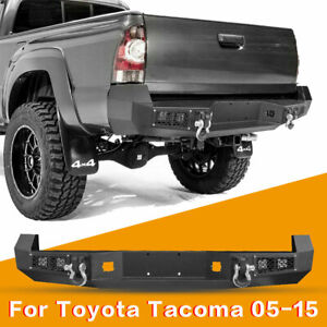 Offroad Steel Rear Bumper W Led Lights D Rings For Toyota Tacoma 2005 2015