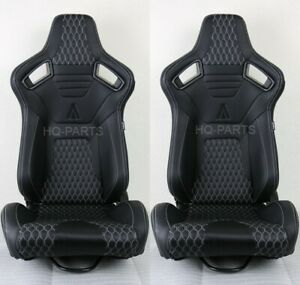 2 Tanaka Premium Black Carbon Pvc Leather Racing Seat White Stitch For Mustang