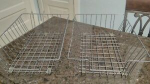 2 Vintage Metal Wire Desk Baskets Trays Deep In Out Boxes Organizers 16 X12x5 5