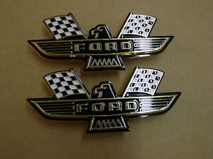 Ford Crossed Flag Fender Emblems Gold Mustang Fairlane Galaxie Falcon 1963 1964