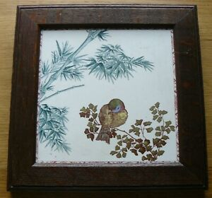 Large Antique Victorian Aesthetic Longwy Framed Tile Bird Bamboo 8 Inch Vgc