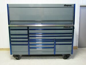 Snap On Storm Grey Blue Trim 84 Epiq Tool Box Stainless Power Top Hutch