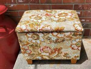 Vintage Wood Sewing Box Storage Upholstered Floral Foot Stool Bench