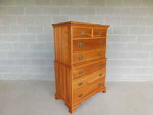 L J G Stickley Cherry Valley Chippendale Style 7 Drawer Chest On Chest