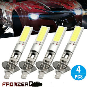4pcs H1 Cob Led Car Headlight Hi Lo Beam Drl Driving Light Bulb White 6000k New