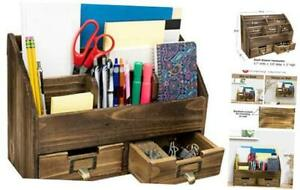 Rustic Wood Office Desk Organizer Includes 6 Compartments And 2 Drawers To