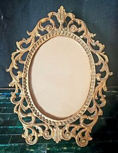 Vintage Italian Ornate Gold Oval Scroll Picture Photo Frame Hollywood Regency