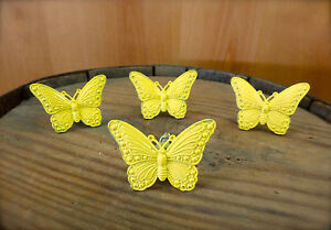 4 Yellow Vintage Style Butterfly Drawer Cabinet Pull Handle Knob Garden Hardware