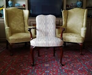 Hickory Chair Mahogany Wood Flame Stitch Fabric Georgian Open Arm Chair
