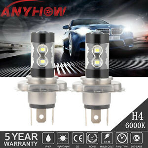 H4 9003 Hb2 100w Led Fog Lights High low Beam Headlight 6000k Driving Drl 2pcs