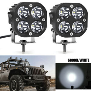 Pair 3inch 40w Led Work Light Cube Pods Driving Fog Spot Lamp Off Road Truck Atv