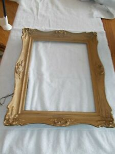 Vtg Wooden Antique Gold Ornate Picture Frame With Wire 17 3 8 X 14 3 8
