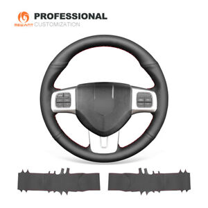 Black Genuine Leather Steering Wheel Cover For Dodge Dart Vw Routan