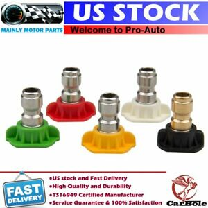 5 Pack Pressure Washer Spray Nozzle Tips Set 1 4 Variety Degrees Quick Connect