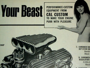 1969 Vintage Cal Custom Ad valve Cover air Cleaner scoop decal mopar ford chevy