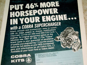 1967 Supercharger Ad 260 289 V8 Engine Mustang Shelby Gt 350 500 Cobra Kits 302