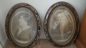 Two Vintage Picture Frames Tiger Wood Oval 16 1 2 X 22 1 2