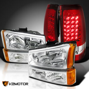 For 2003 2006 Chevy Silverado Crystal Clear Headlights red Led Tail Brake Lamps