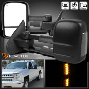 For 2014 2018 Chevy Silverado Gmc Sierra Power Heated Smoke Led Tow Mirrors