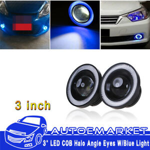 2x Universal Size 3 Cob Led Blue Angel Eyes Halo Ring Automobile Drl Fog Lamps