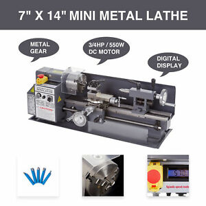 7 X 14 Mini Metal Lathe 550w Variable Speed 2250rpm Digital Readout Metal Gear