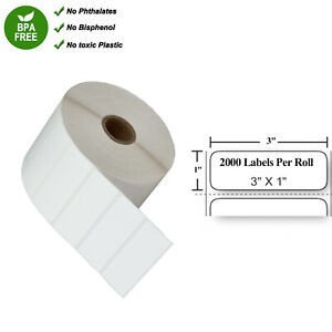 Thermal Transfer Shipping Paper 2000 Labels Per Roll Tape 3 x1 For Zebra 3x1